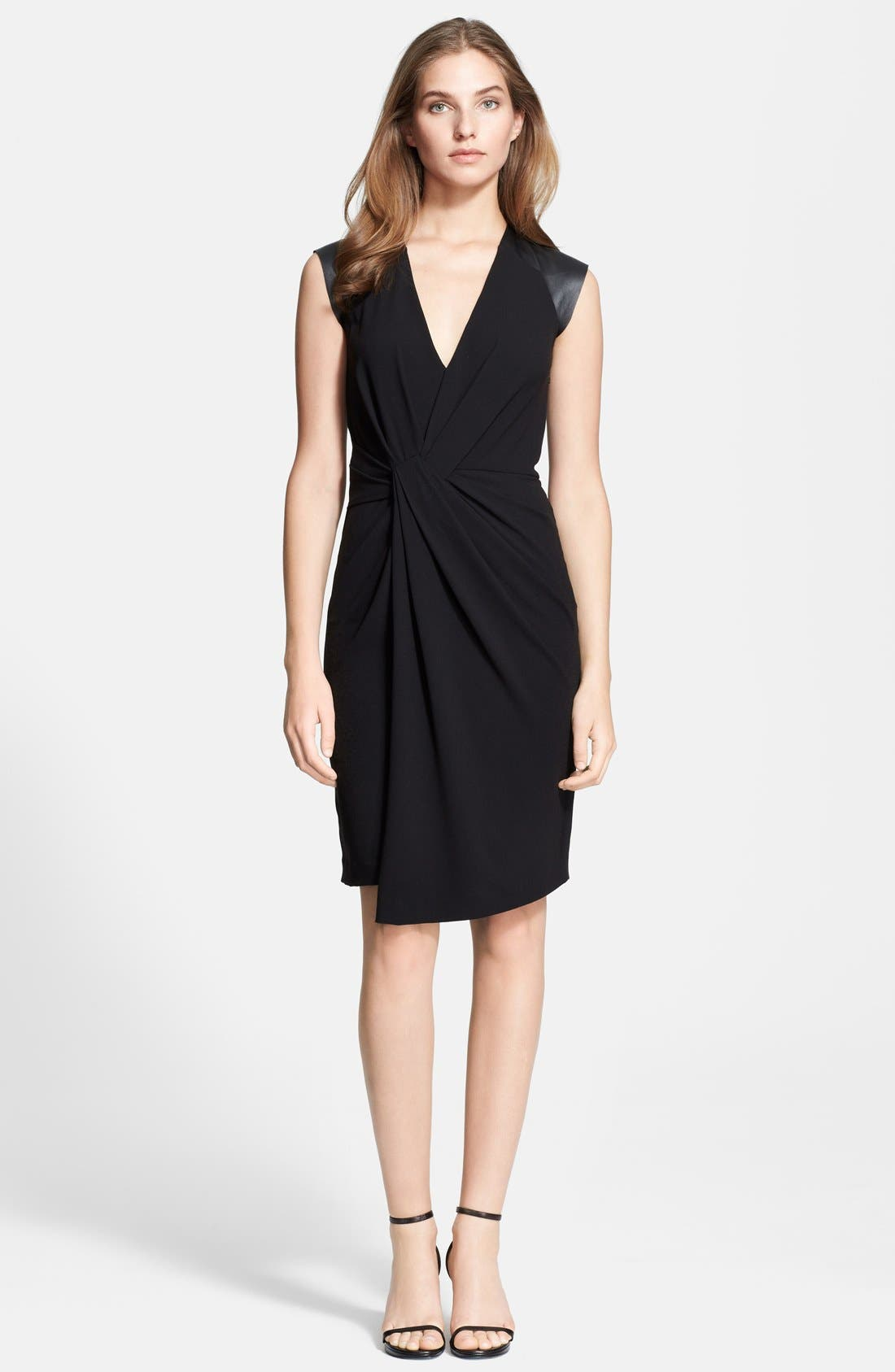 Alternate Image 1 Selected - Halston Heritage Twist Front Leather Sleeve Dress