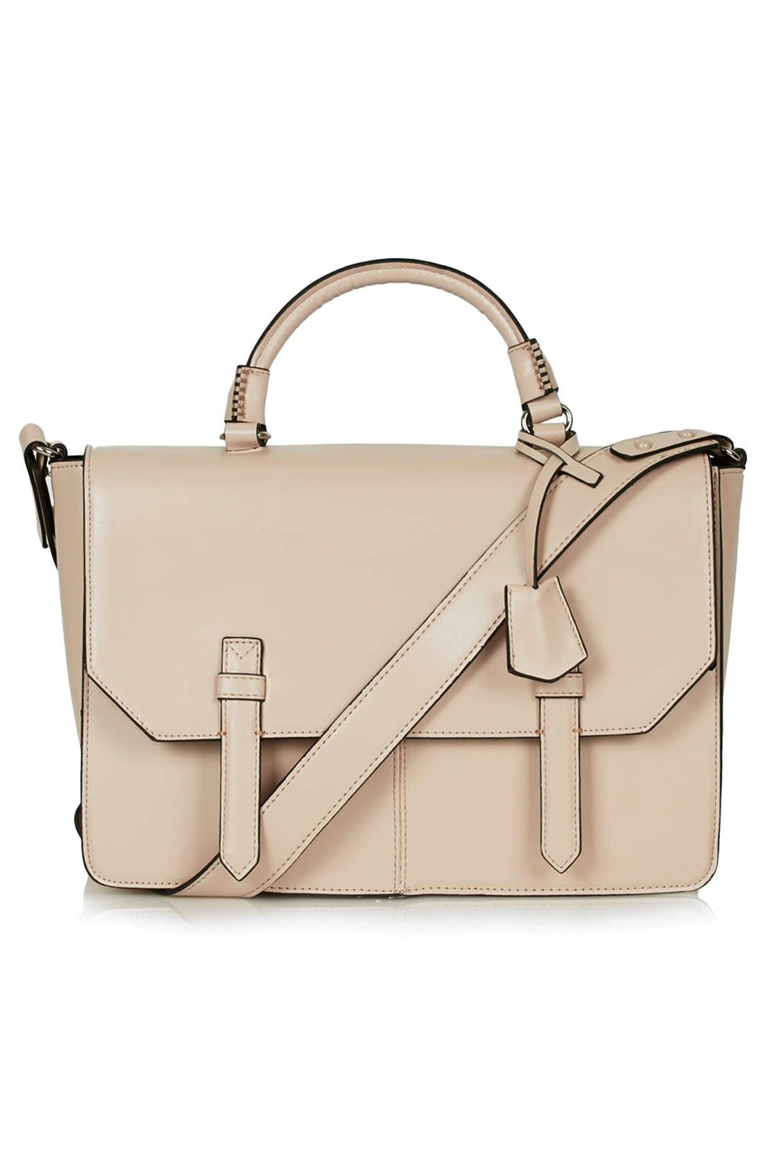 Main Image - Topshop 'Clean' Faux Leather Satchel
