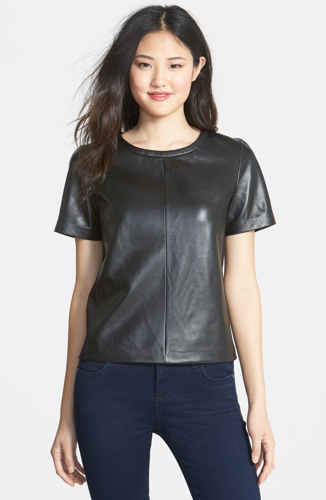 Alternate Image 1 Selected - Halogen® Leather Front Top (Regular & Petite) (Online Only)