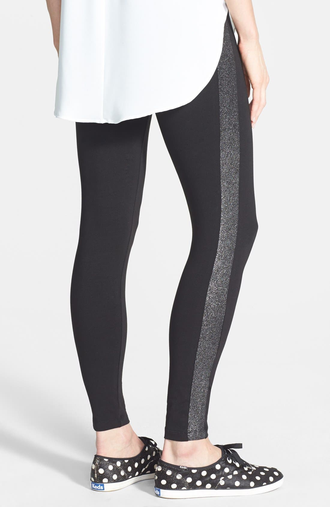 Main Image - kate spade new york sparkle tuxedo stripe leggings