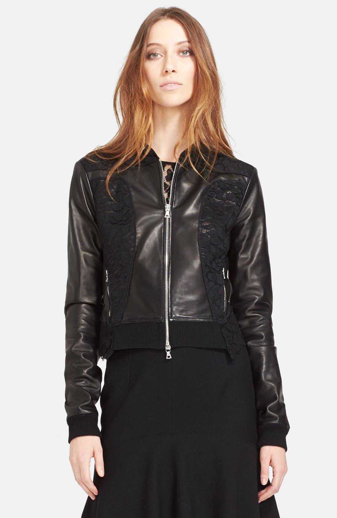 Main Image - Nina Ricci Lace Panel Leather Bomber Jacket