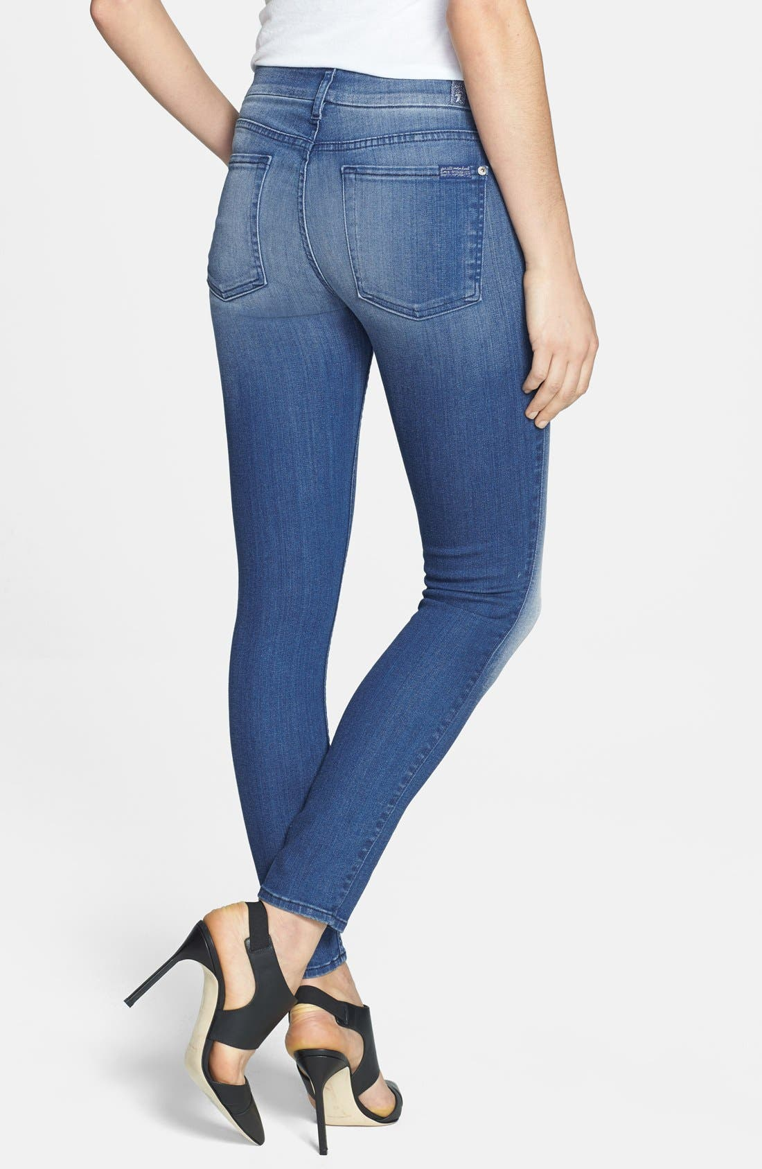 Alternate Image 2  - 7 For All Mankind® 'The Ankle' Skinny Jeans (Slim Illusion Bright Blue)