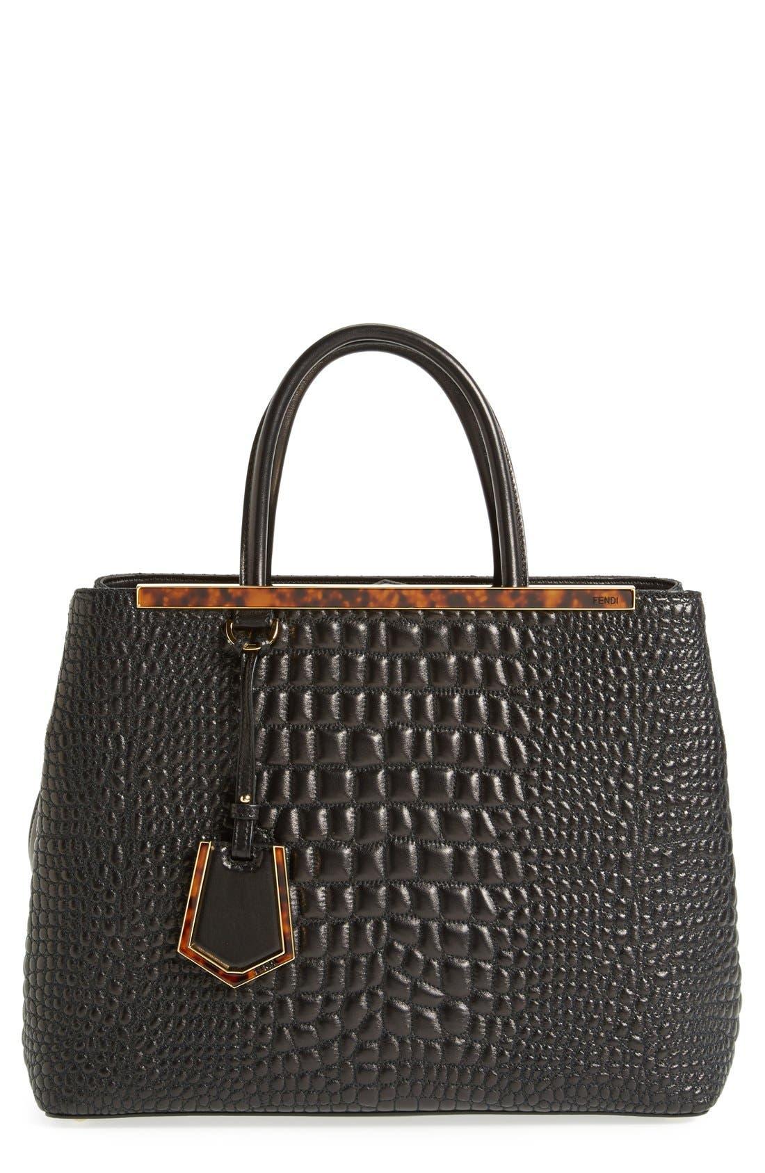 Main Image - Fendi 'Medium 2Jours' Croc Embroidered Leather Shopper