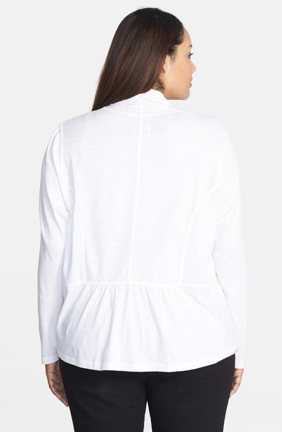 Alternate Image 2  - Sejour Slub Cotton Waterfall Cardigan (Plus Size)