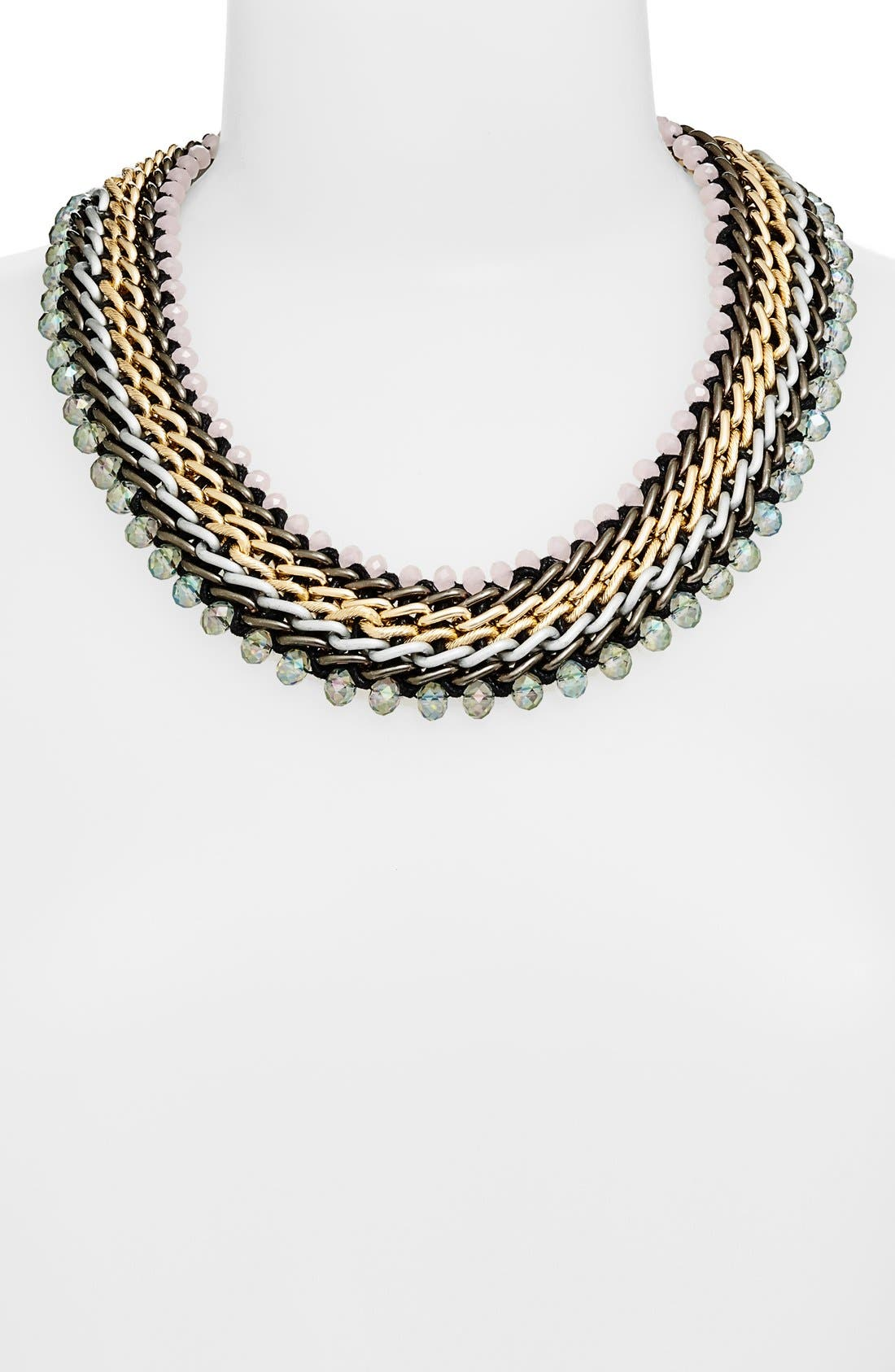 Mixed Metal Necklace,                         Main,                         color, Opal/ Black