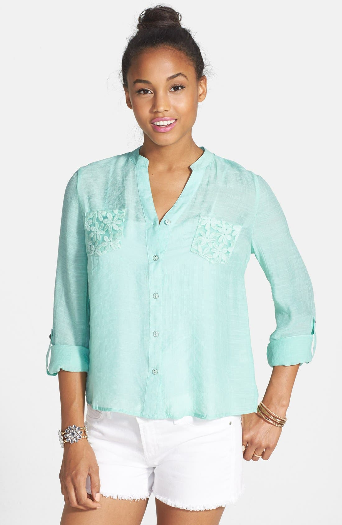 Main Image - Blu Pepper Embroidered Back Button Shirt (Juniors)