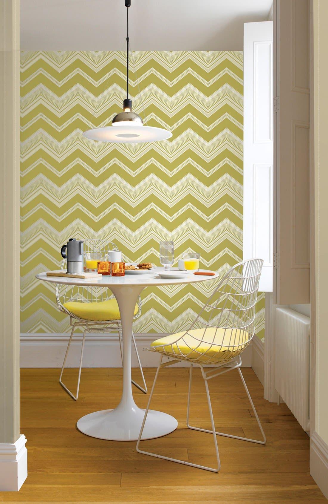 'Bearden Light - Zigzag' Unpasted Wallpaper,                             Alternate thumbnail 2, color,                             Green
