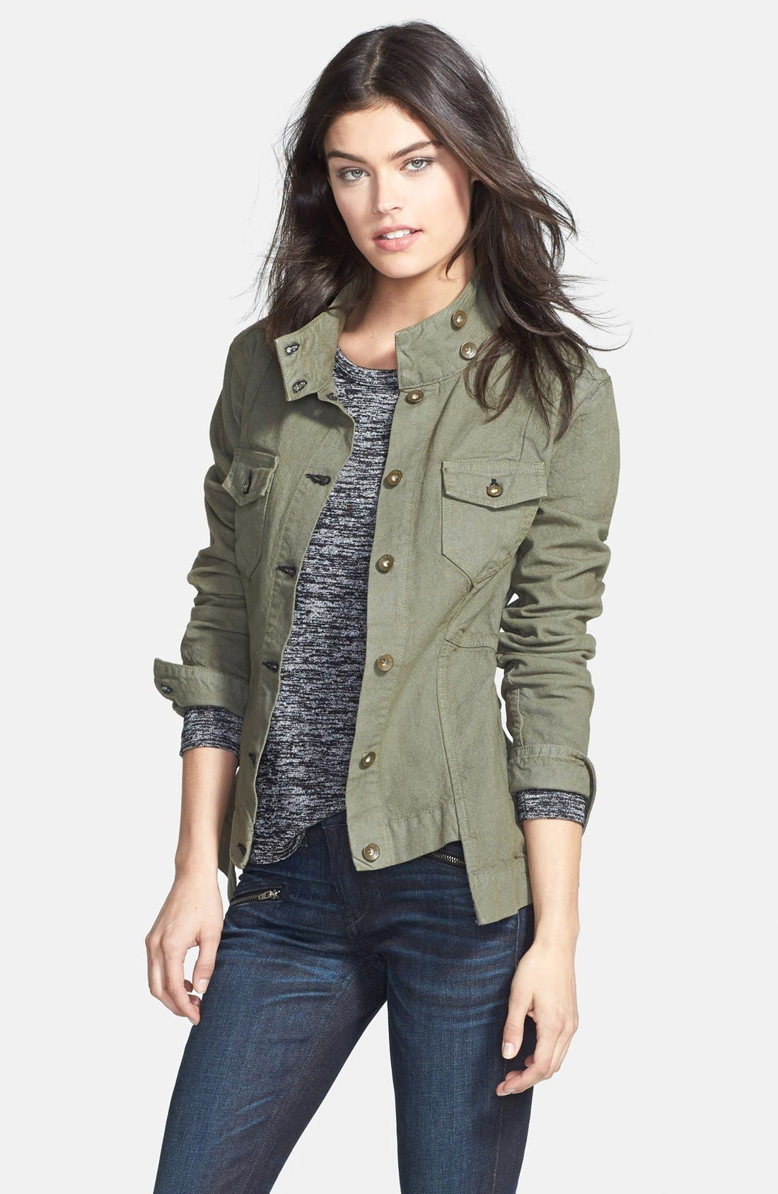 Main Image - rag & bone/JEAN 'Chamberlain' Stand Collar Step Hem Jacket (Nordstrom Exclusive)