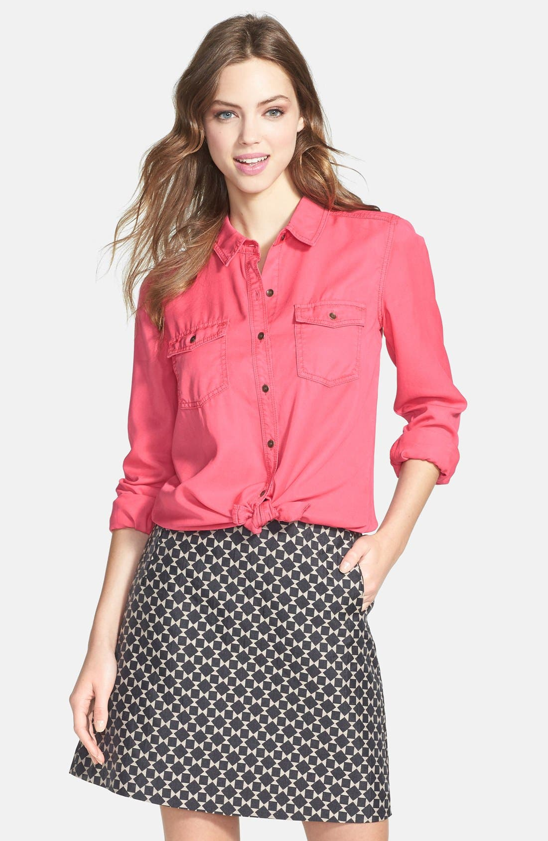 Long Sleeve Chambray Shirt,                         Main,                         color, Pink Ribbon