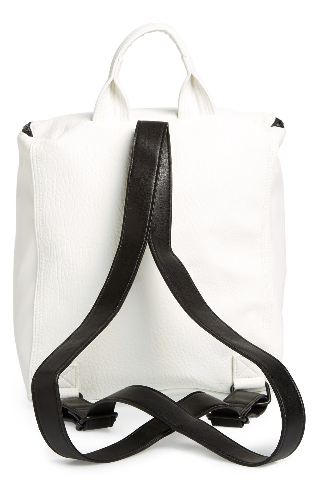 'Prim Lady' Faux Leather Backpack,                             Alternate thumbnail 4, color,                             White