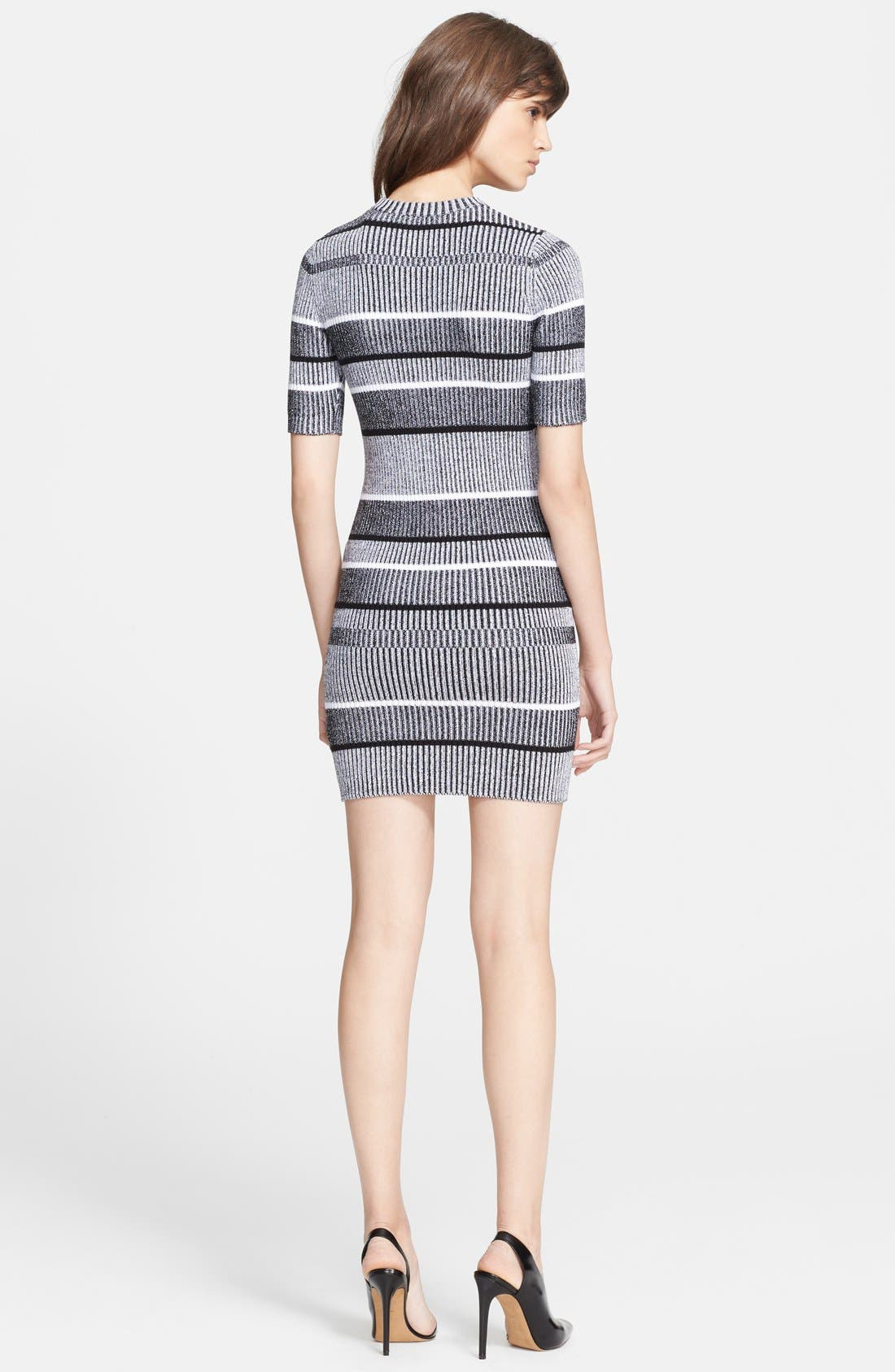 Alternate Image 2  - Alexander Wang Stripe Rib Knit Sweater Dress