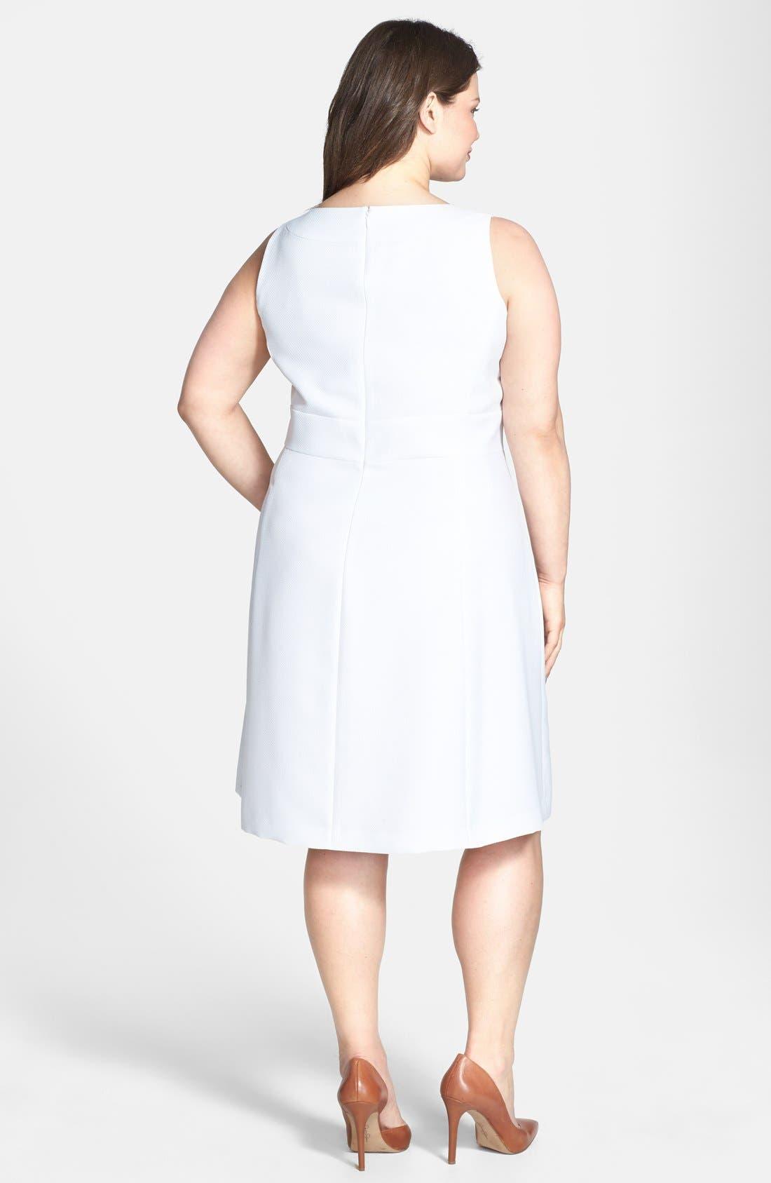 Alternate Image 2  - Tahari Textured Fit & Flare Dress (Plus Size)