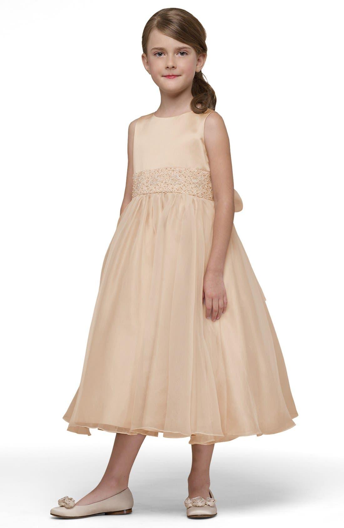 US ANGELS Beaded Satin Sleeveless Dress