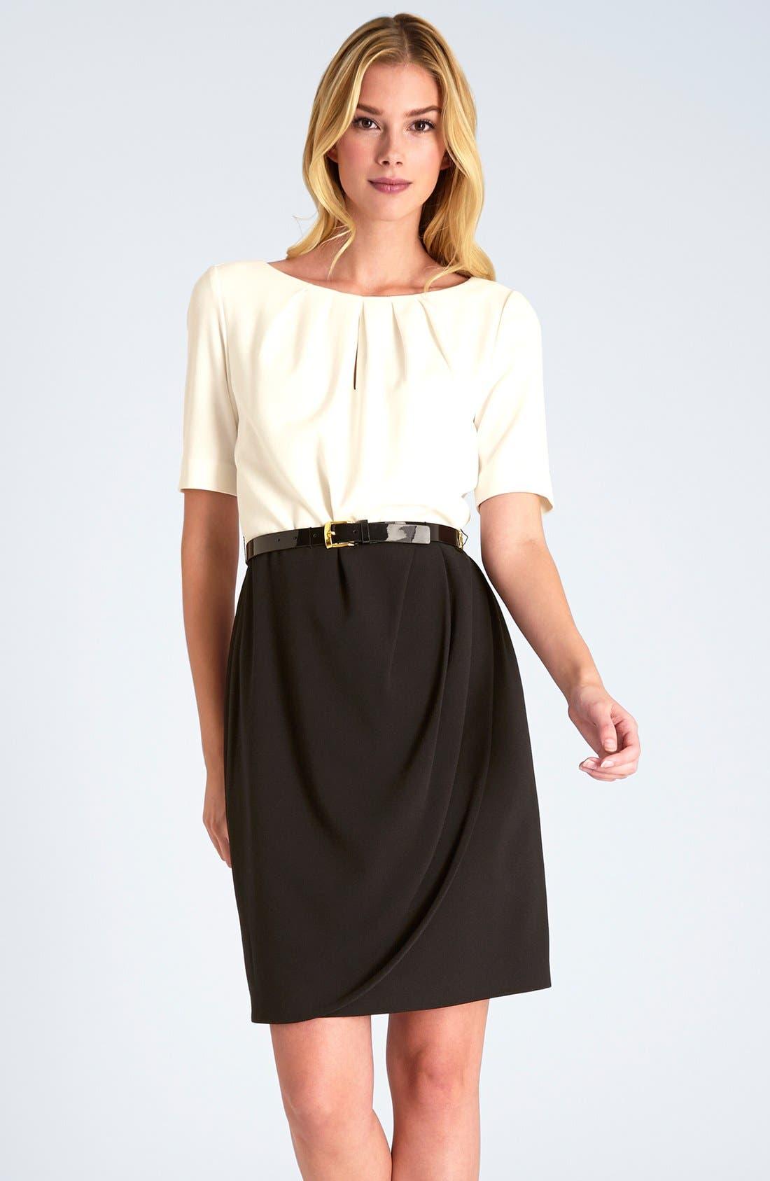 Main Image - Tahari Colorblock Stretch Crepe Sheath Dress