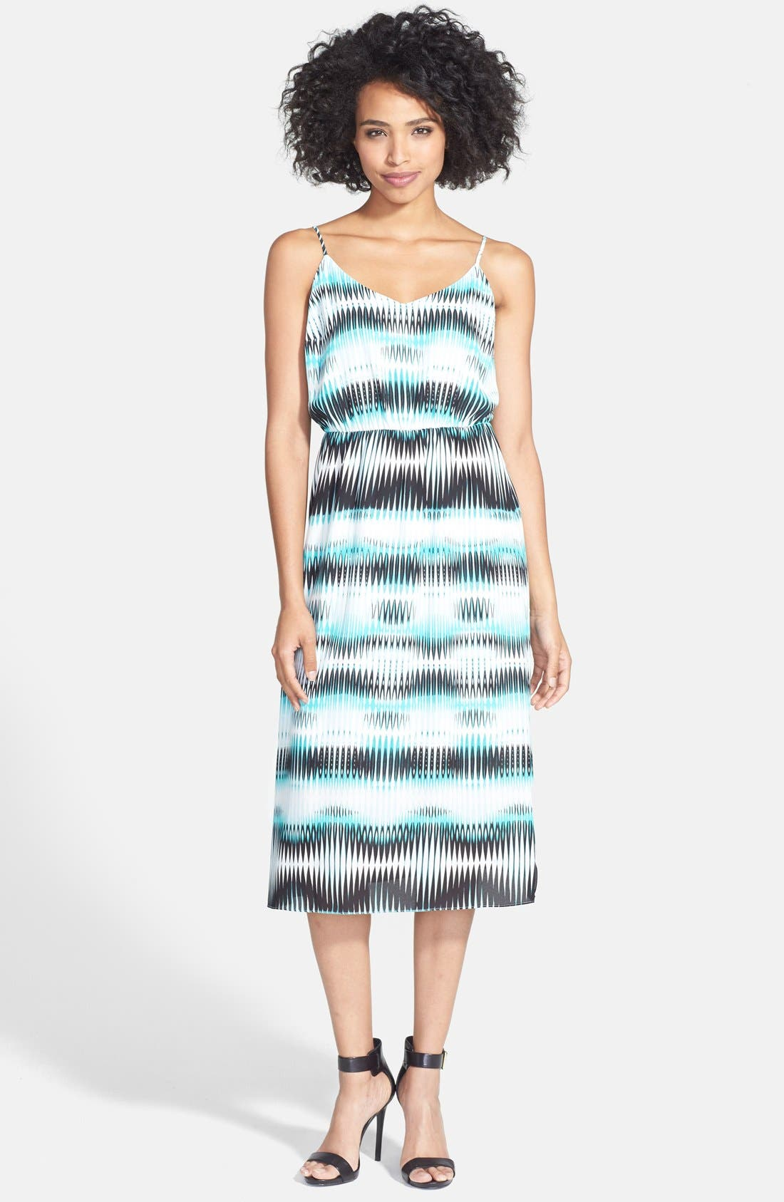 'Linear Echoes' Print Midi Dress,                             Main thumbnail 1, color,                             Rich Teal