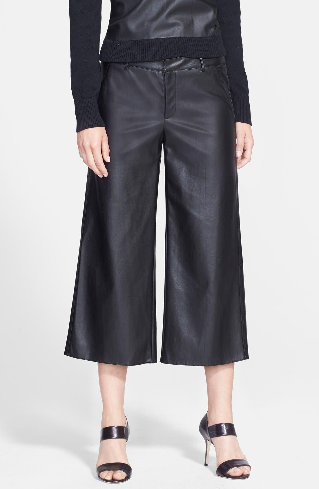 Main Image - Pink Tartan Faux Leather Wide Leg Crop Pants