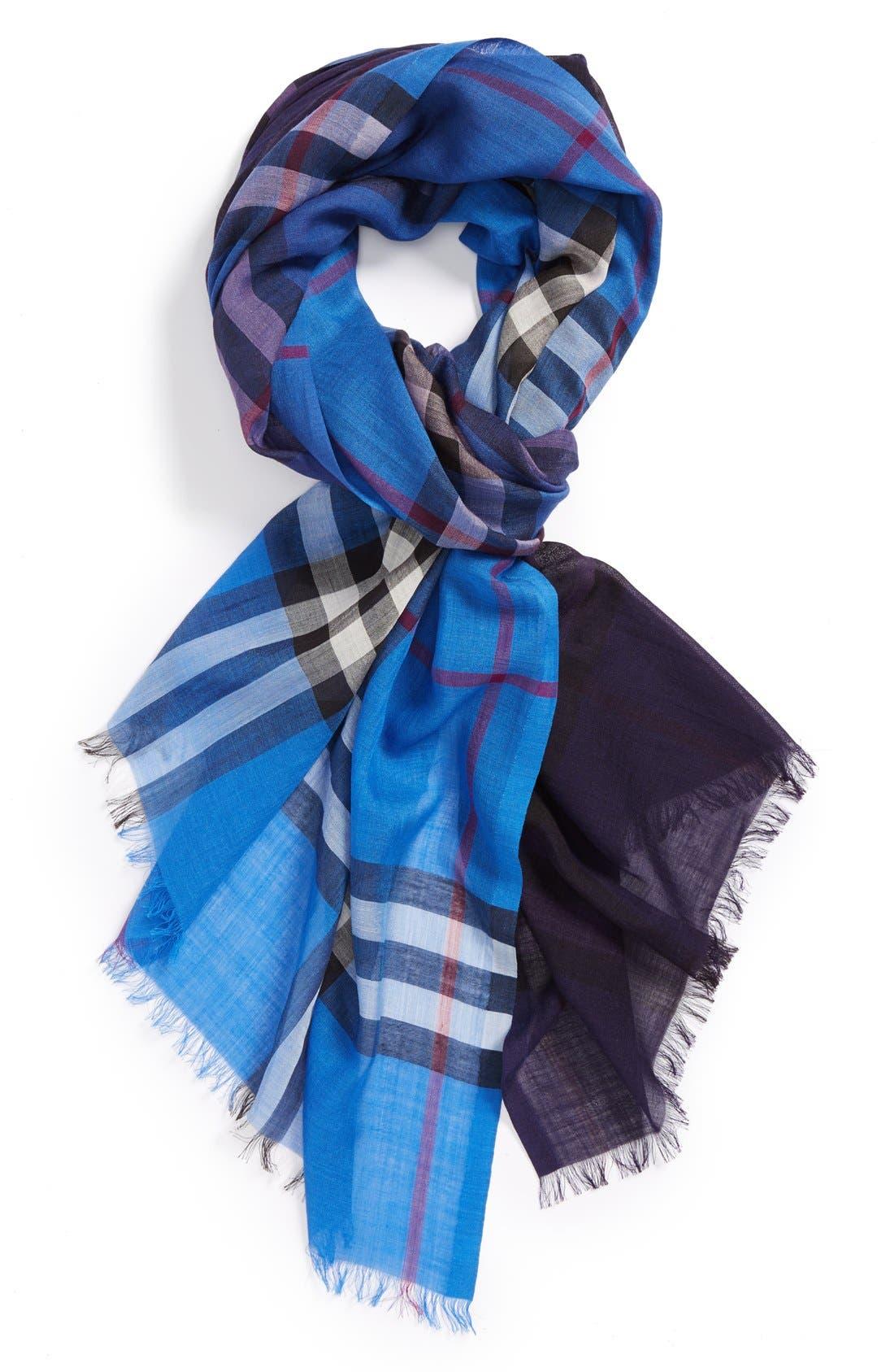 Ombré Check Wool & Silk Scarf,                         Main,                         color, Hydrangea Blue