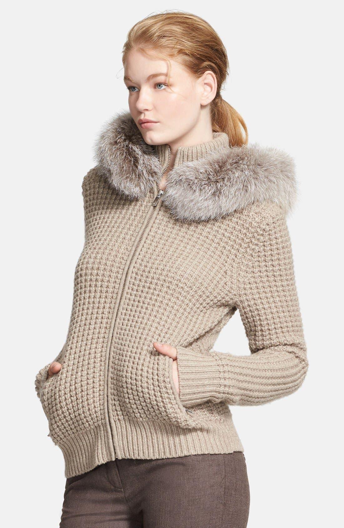 Alternate Image 3  - Michael Kors Zip Front Cashmere Hoodie with Genuine Fox Fur Trim