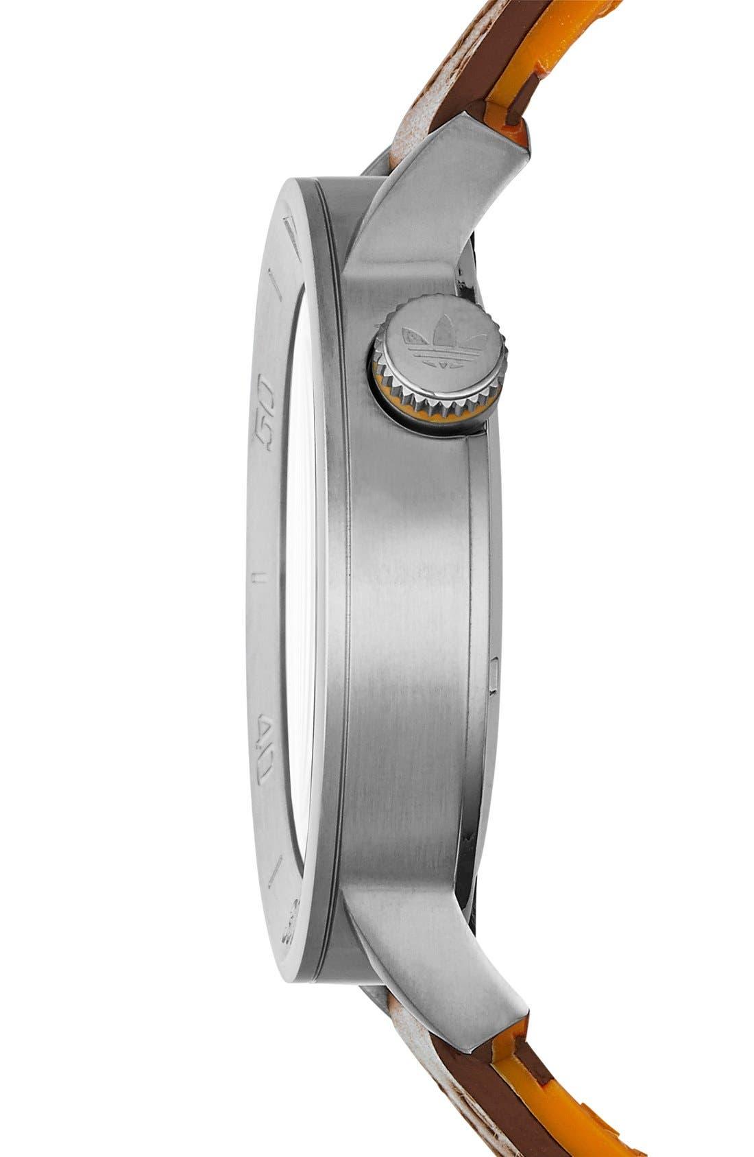 Alternate Image 2  - adidas Originals 'Manchester' Leather & Silicone Strap Watch, 46mm