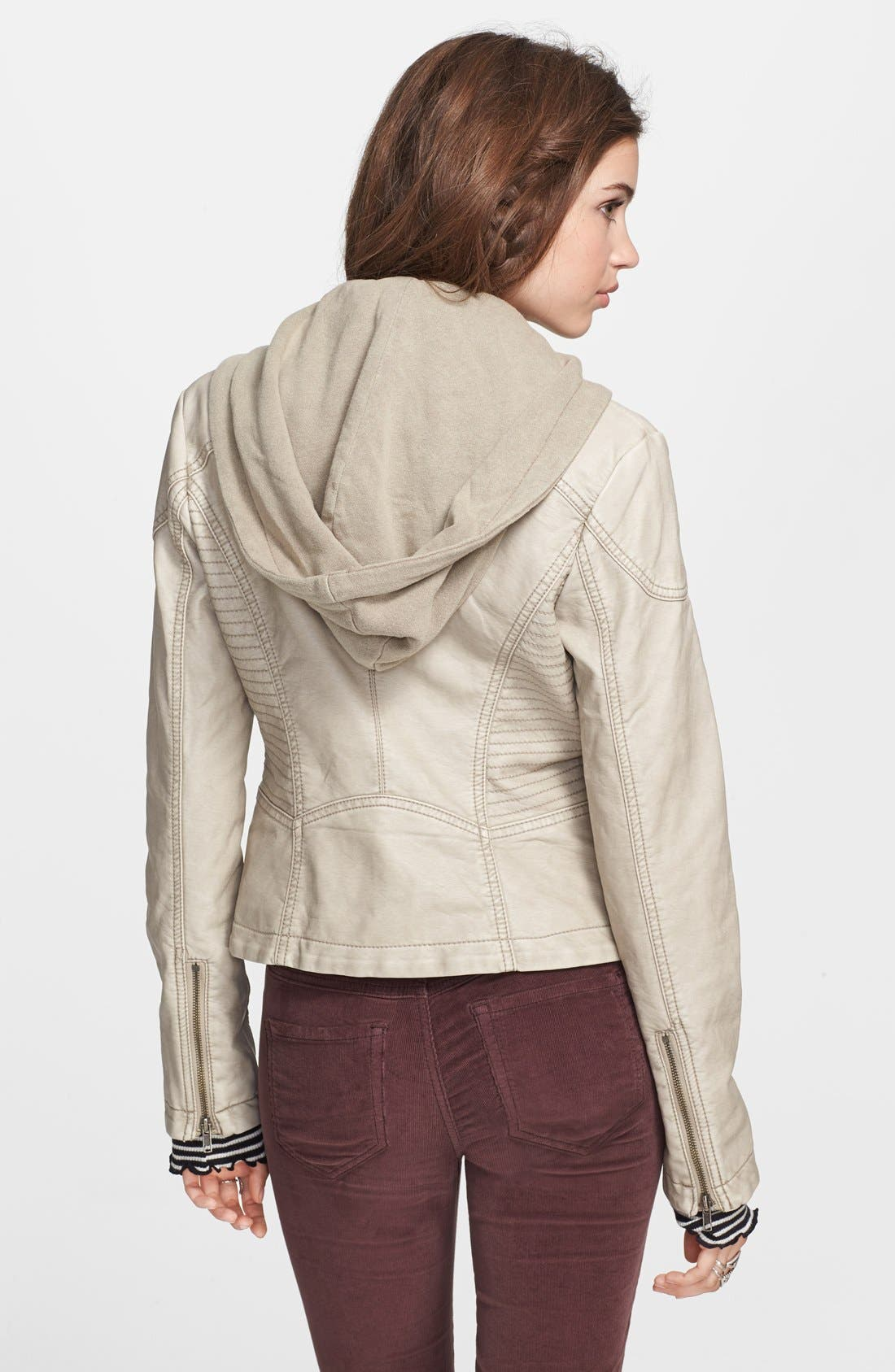 Hooded Faux Leather Moto Jacket,                             Alternate thumbnail 2, color,                             Light Grey