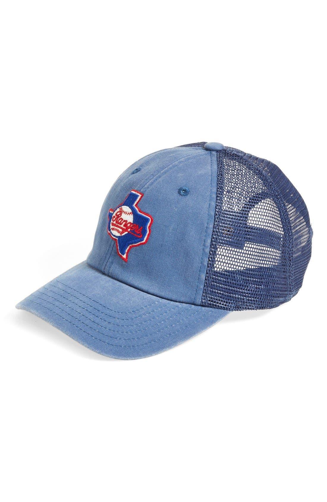 AMERICAN NEEDLE Texas Rangers - Raglan Bones Mesh Trucker Cap