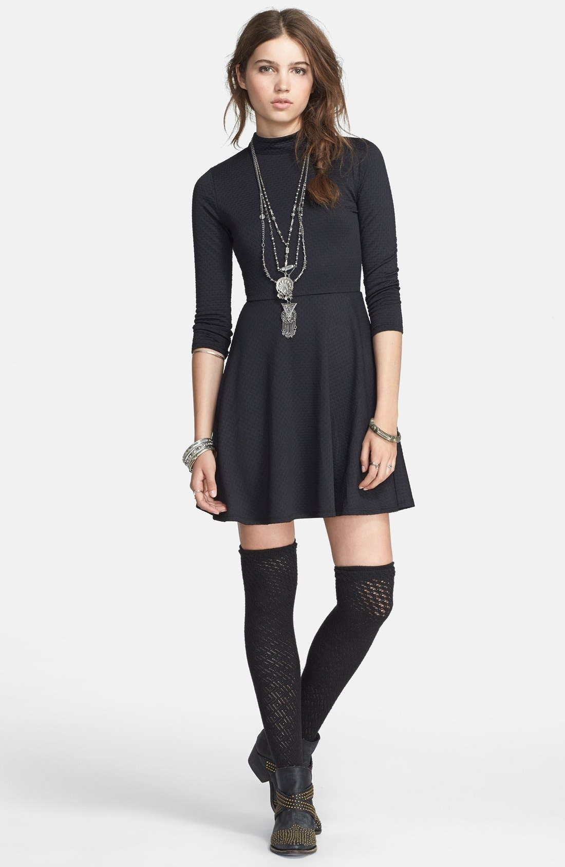 Alternate Image 3  - Free People Back Cutout Textured Fit & Flare Dress