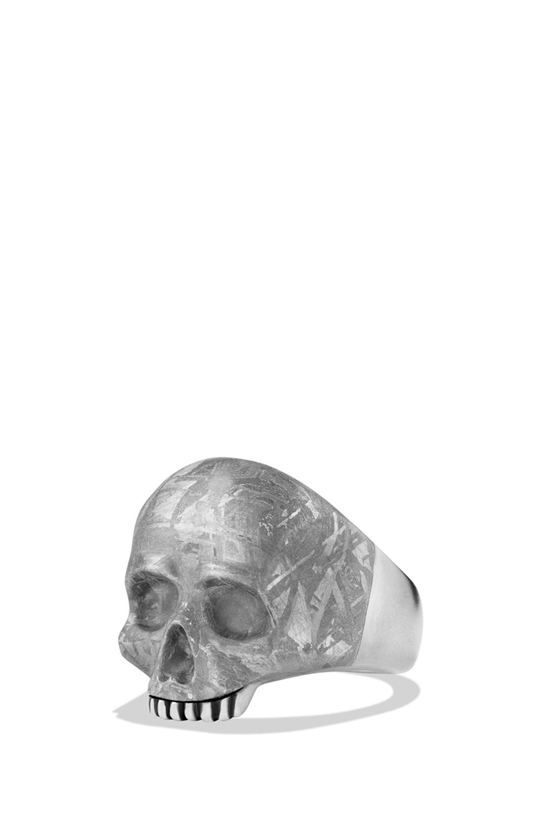 'Skull' Ring with Carved Meteorite,                             Main thumbnail 1, color,                             Meteorite