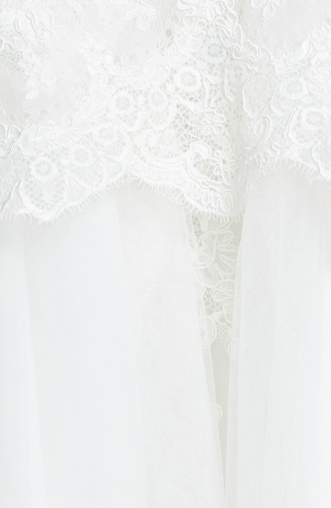 Alternate Image 3  - BLISS Monique Lhuillier Lace Overlay Tulle Trumpet Wedding Dress