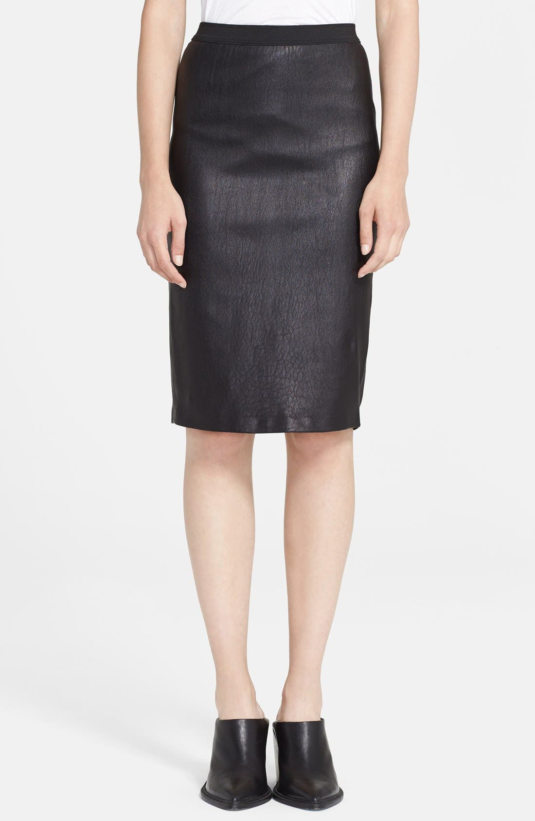 Main Image - Helmut Lang Stretch Plonge Leather Skirt