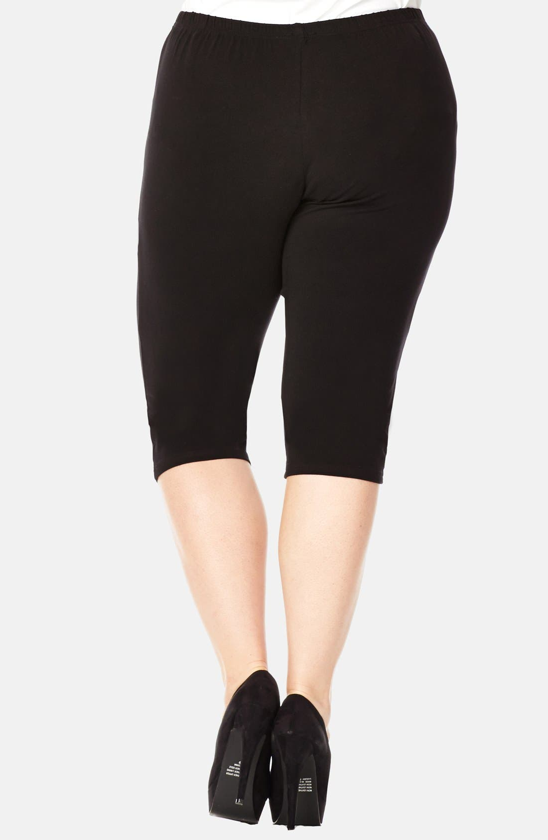 Alternate Image 2  - City Chic Three-Quarter-Length Leggings (Plus Size)