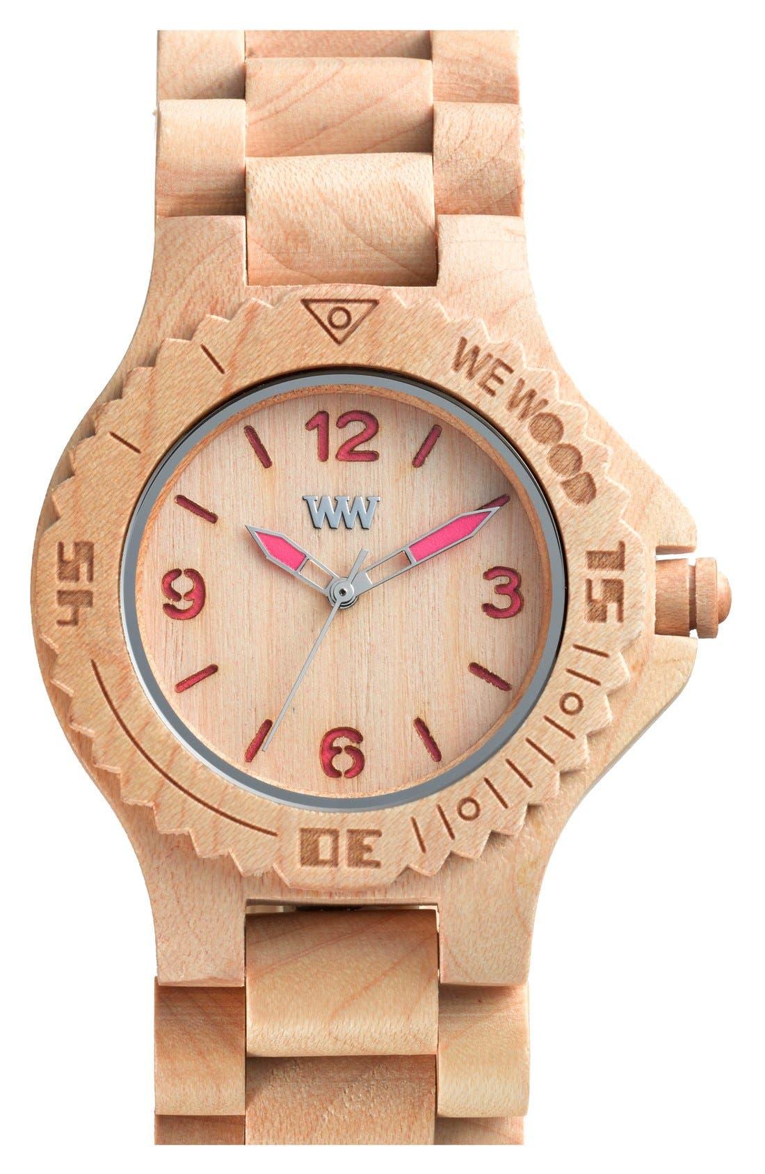 Alternate Image 1 Selected - WeWOOD 'Kale' Wood Bracelet Watch, 42mm