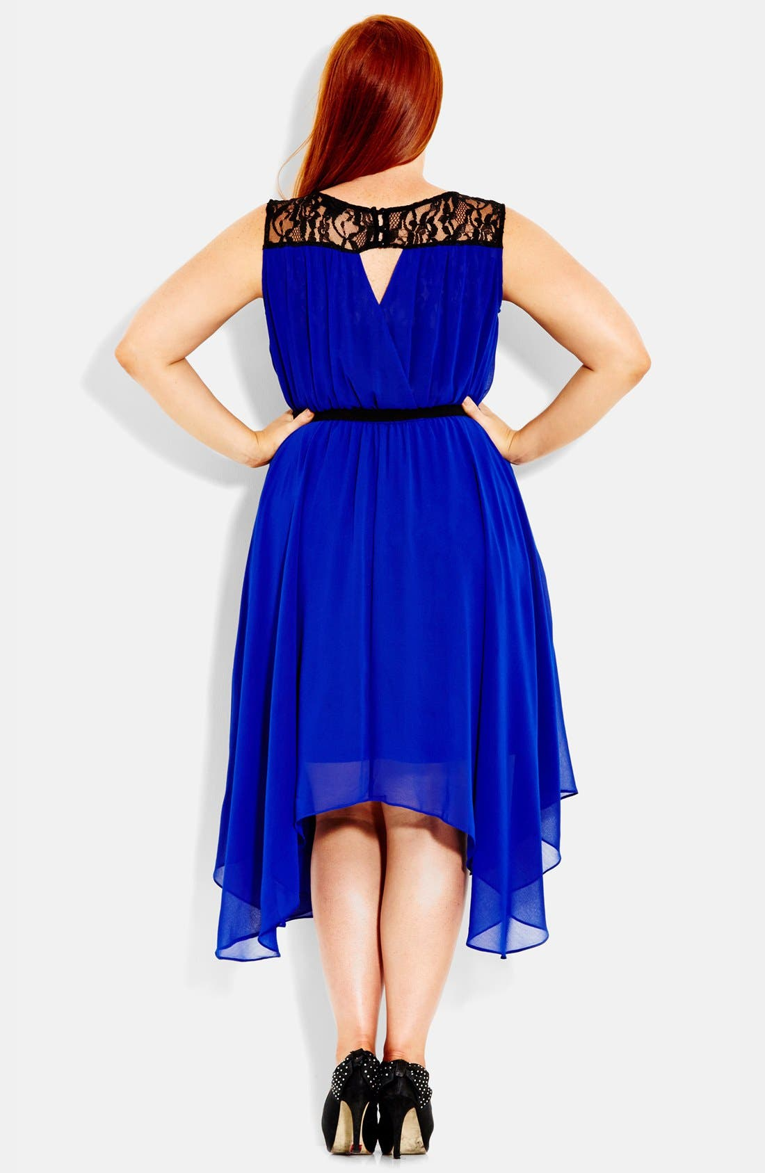 Alternate Image 2  - City Chic Chiffon & Lace Keyhole Dress (Plus Size)