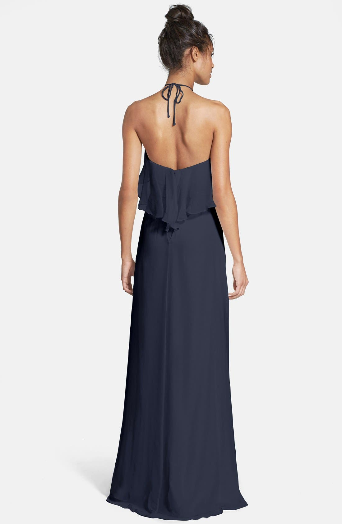 Ruffle Crinkled Silk Chiffon Halter Gown,                             Alternate thumbnail 2, color,                             Navy