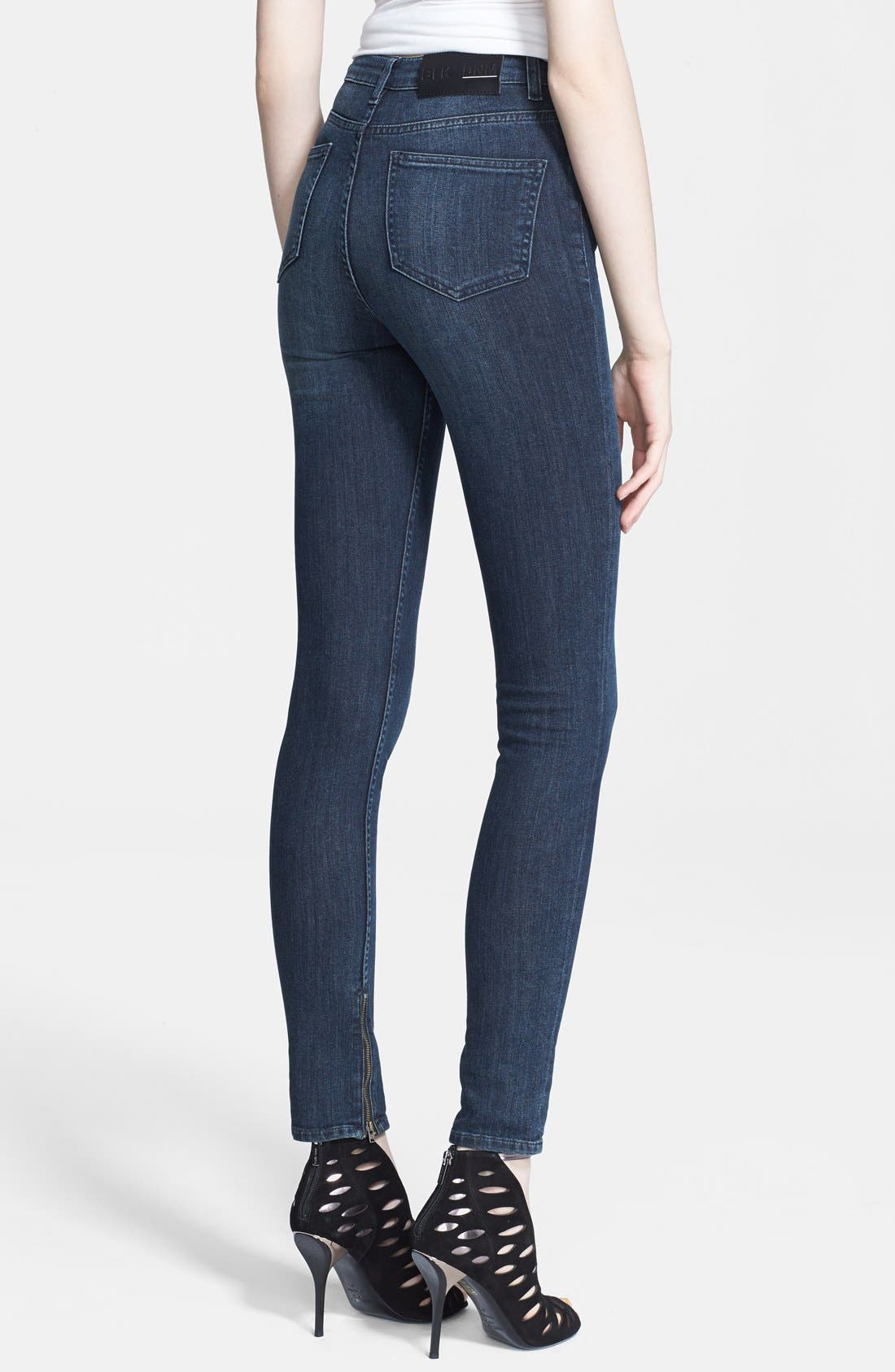 Alternate Image 2  - BLK DNM Zip Detail Skinny Jeans (Water Blue)