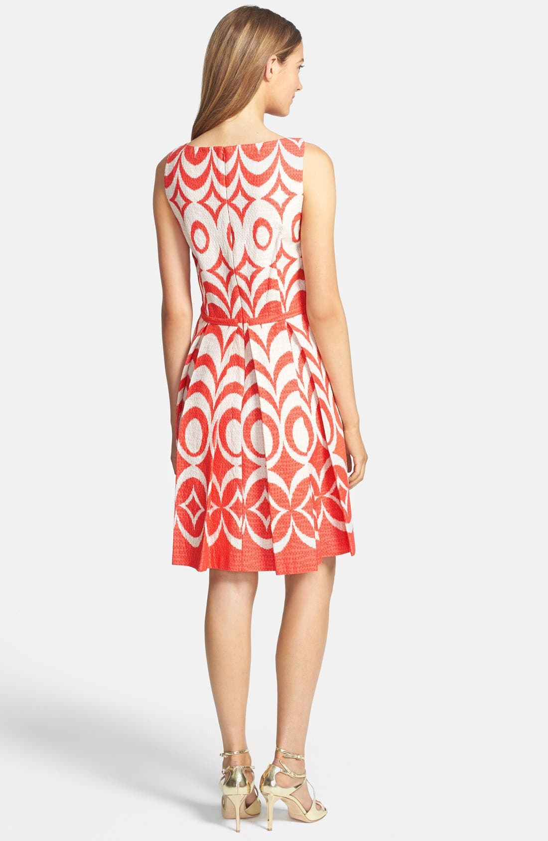 Print Cotton Fit & Flare Dress,                             Alternate thumbnail 2, color,                             Blaze/ Tan