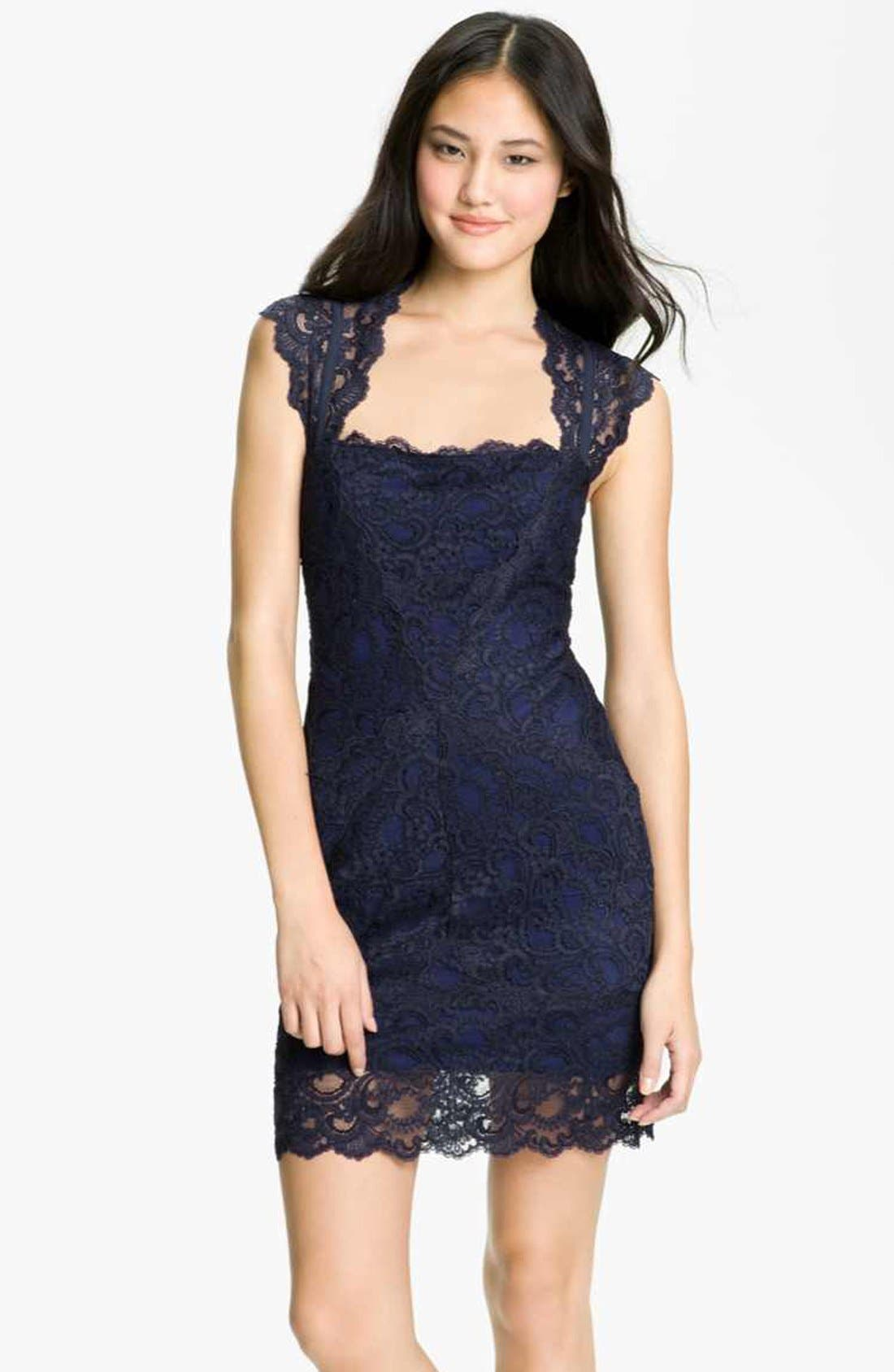 Main Image - Nicole Miller Lace Fitted Cap Sleeve Lace Sheath Dress
