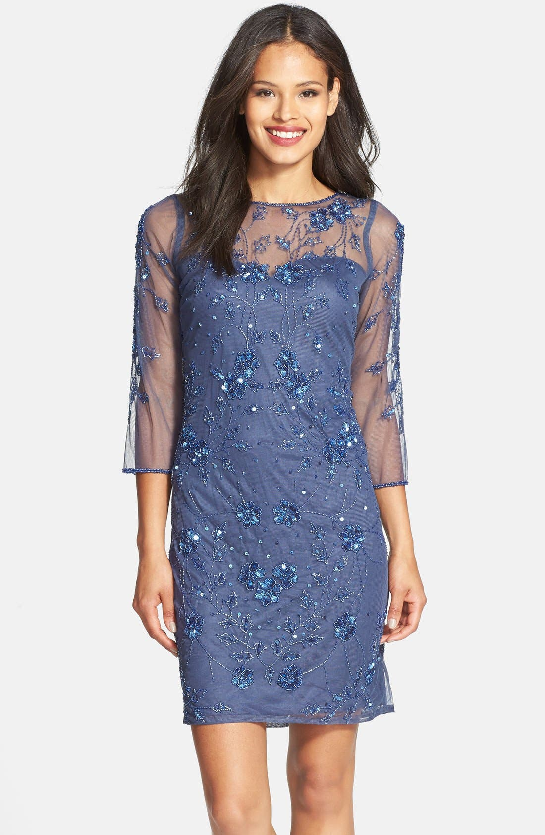Embellished Illusion Yoke Mesh Dress,                         Main,                         color, Marlin