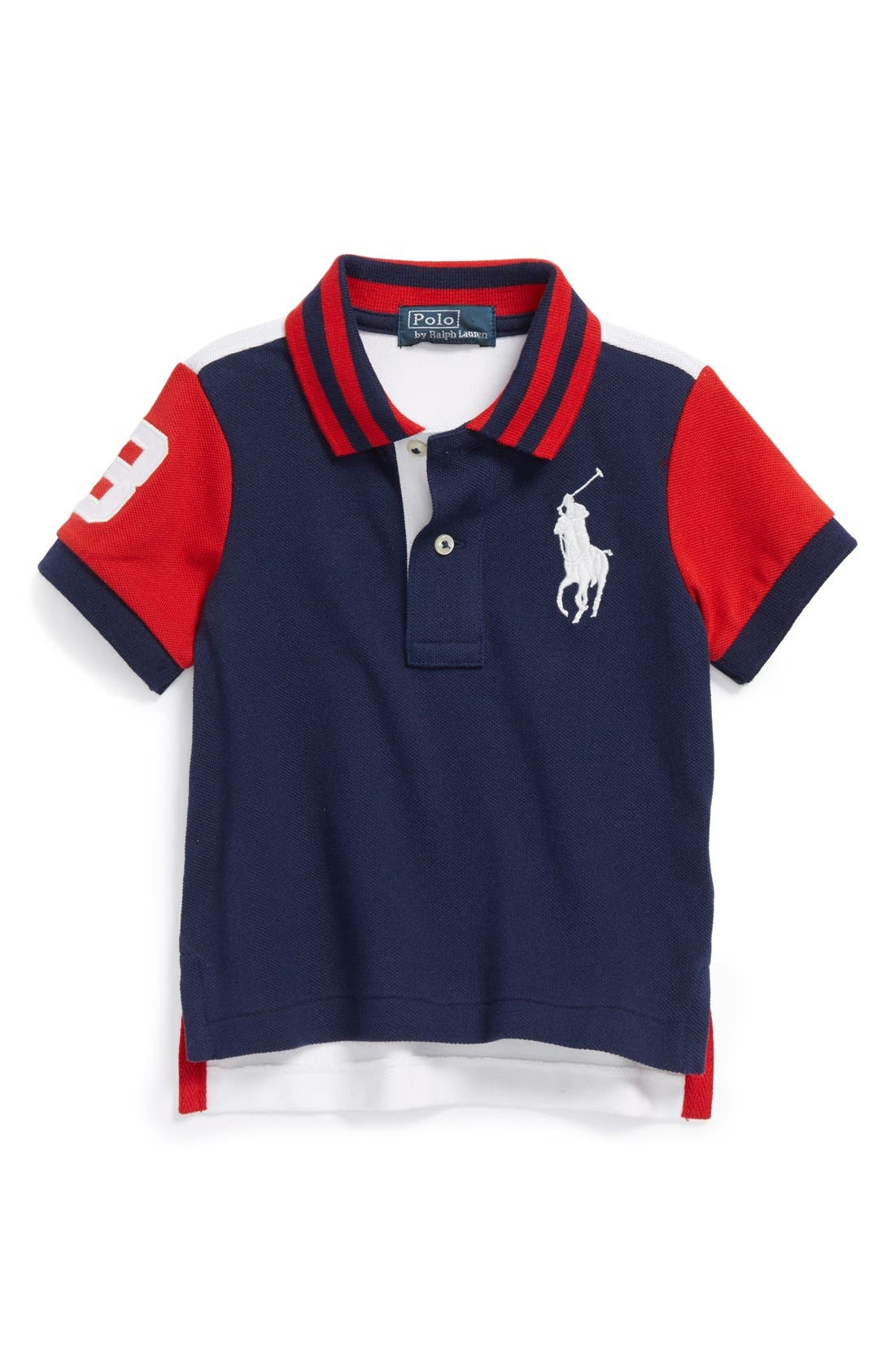 Alternate Image 1 Selected - Ralph Lauren Colorblock Polo (Toddler Boys)