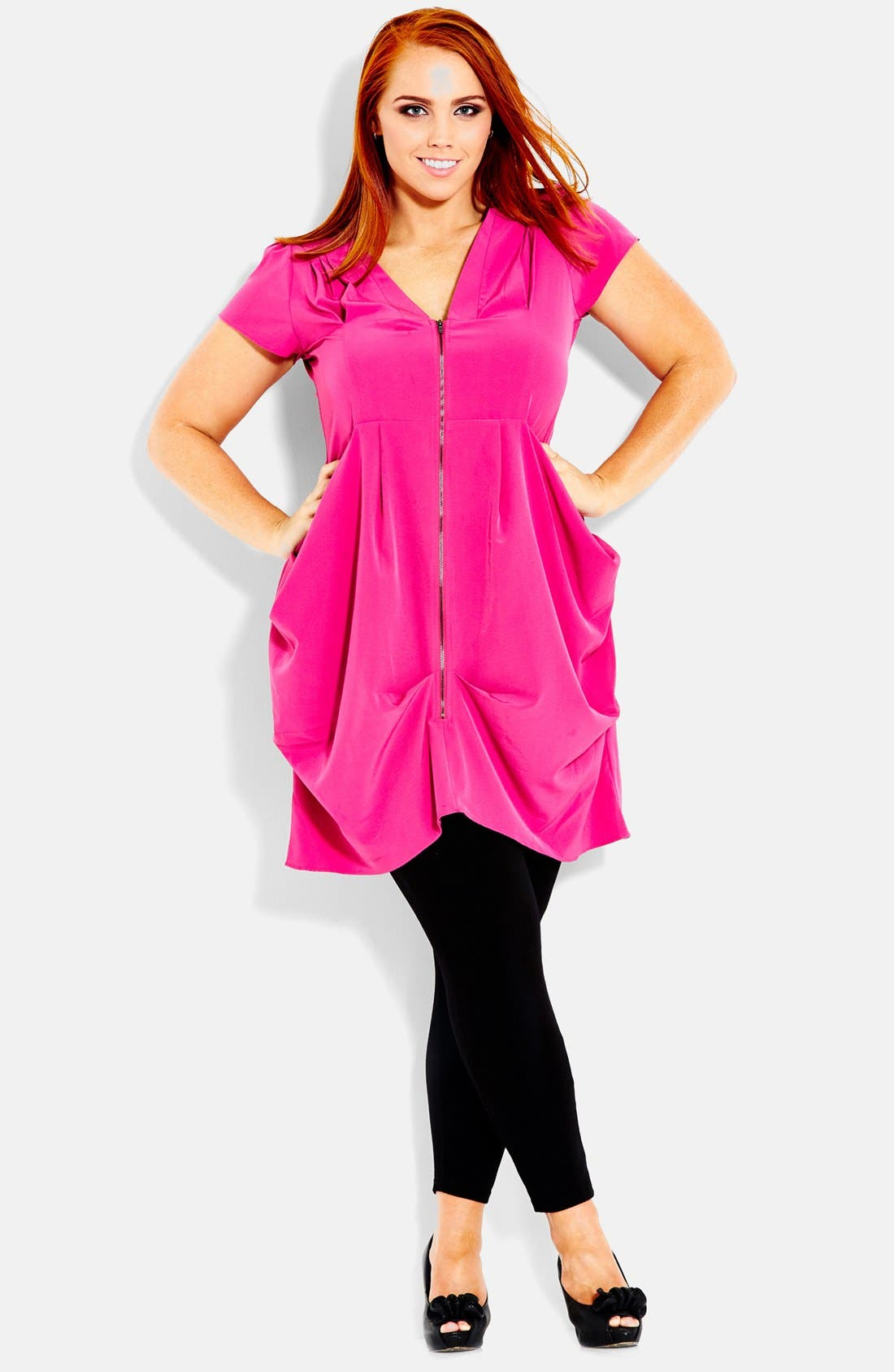 Main Image - City Chic Front Zip Pleat Tunic (Plus Size)