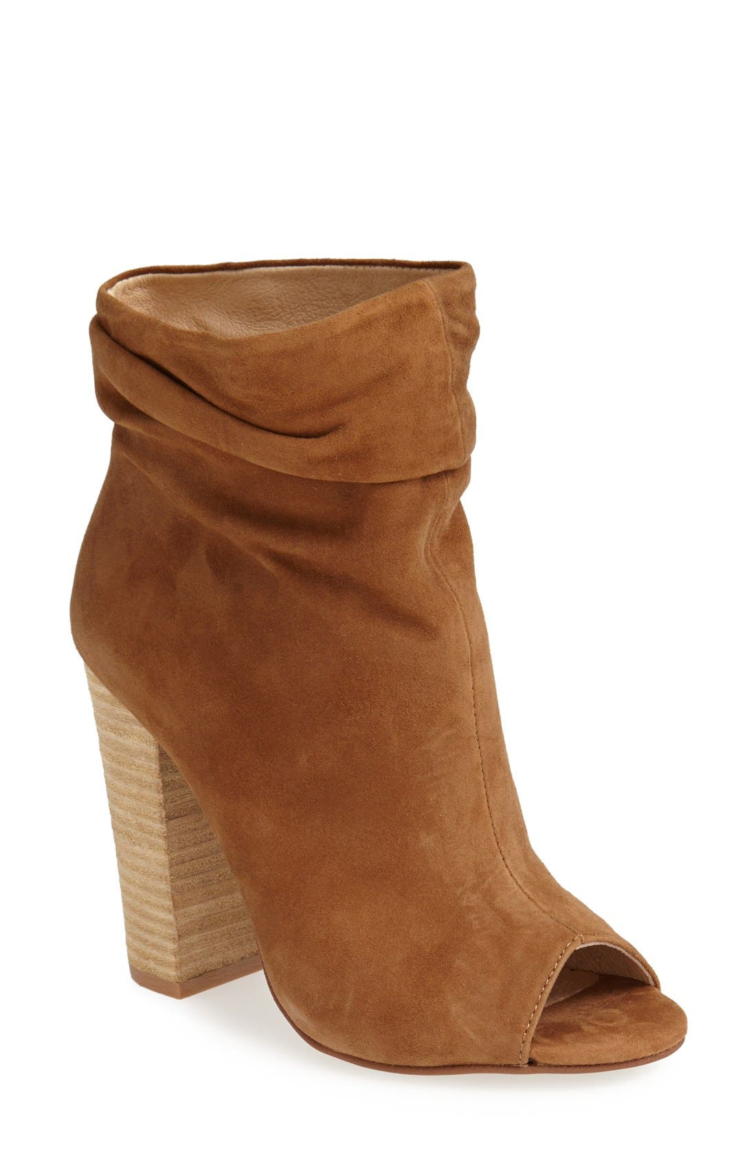 'Laurel' Peep Toe Bootie,                             Main thumbnail 1, color,                             Dark Camel
