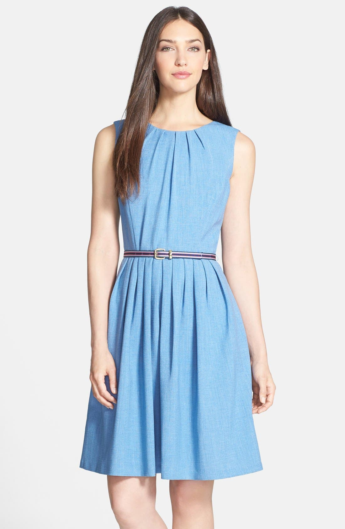 Main Image - Ellen Tracy Belted Fit & Flare Dress (Petite)