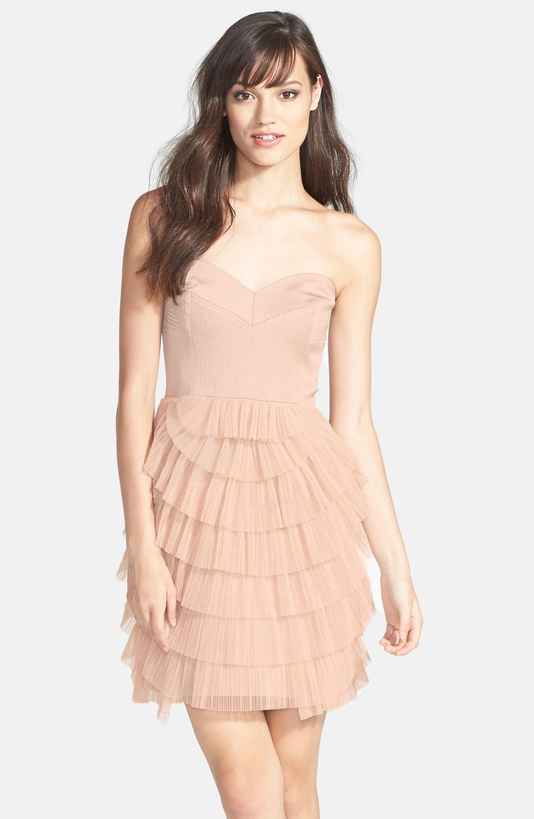 Tiered Mixed Media Fit & Flare Dress,                         Main,                         color, Bare Pink