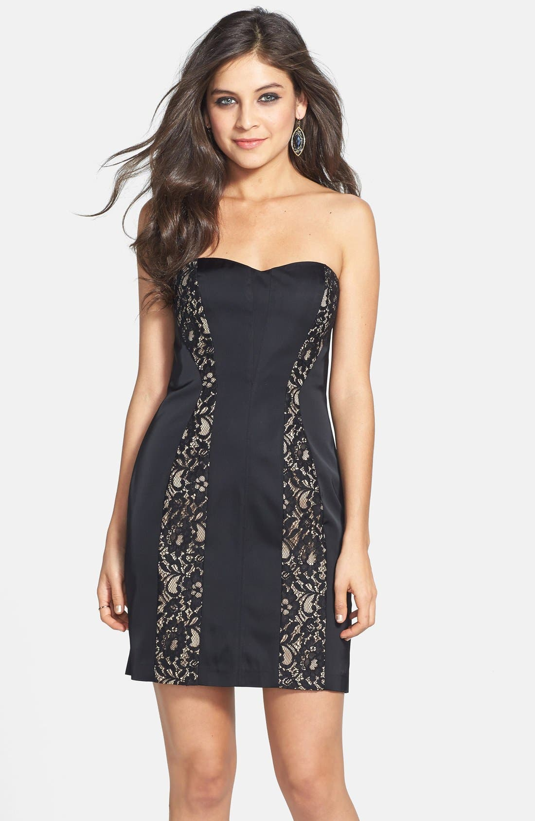Main Image - Aidan Mattox Lace Inset Sheath Dress