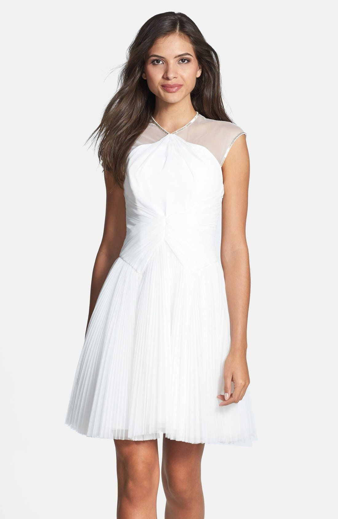 Main Image - Ted Baker London 'Trixxy' Illusion Yoke Pleat Tulle Fit & Flare Dress