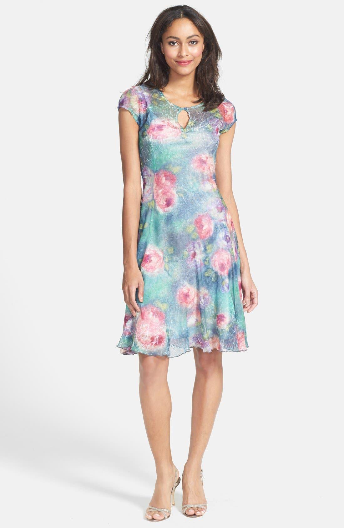 Main Image - Komarov Cap Sleeve Floral Print Chiffon Dress (Petite)