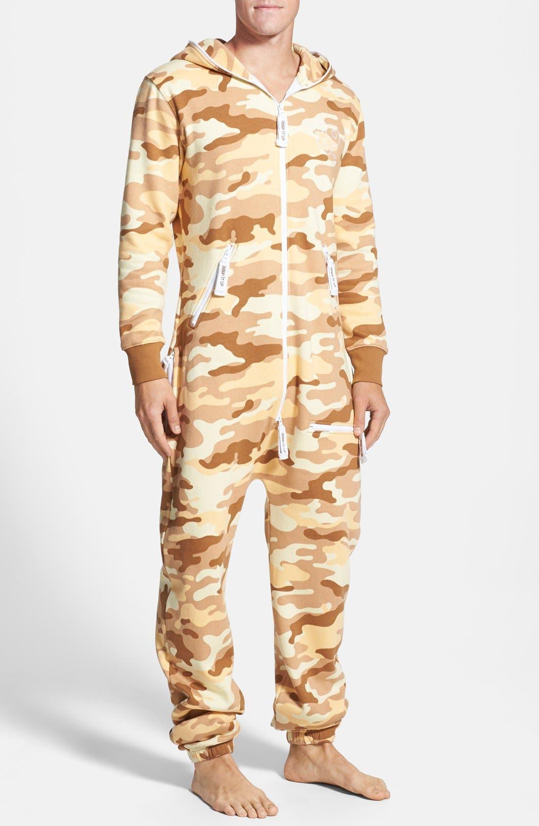 Alternate Image 1 Selected - ZOOOP iT UP™ Camo Desert Zip Hoodie Jumpsuit