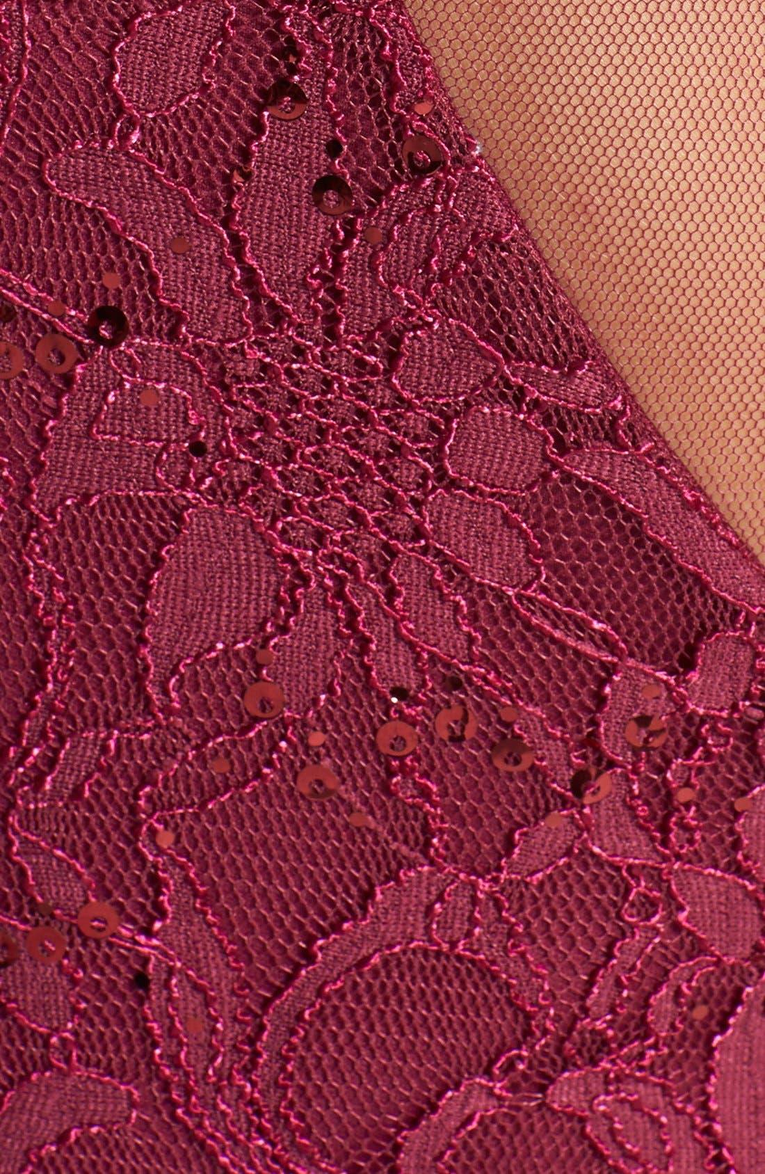 Alternate Image 4  - Hailey Logan Mesh Inset Sequin Lace Sheath Dress (Juniors) (Online Only)