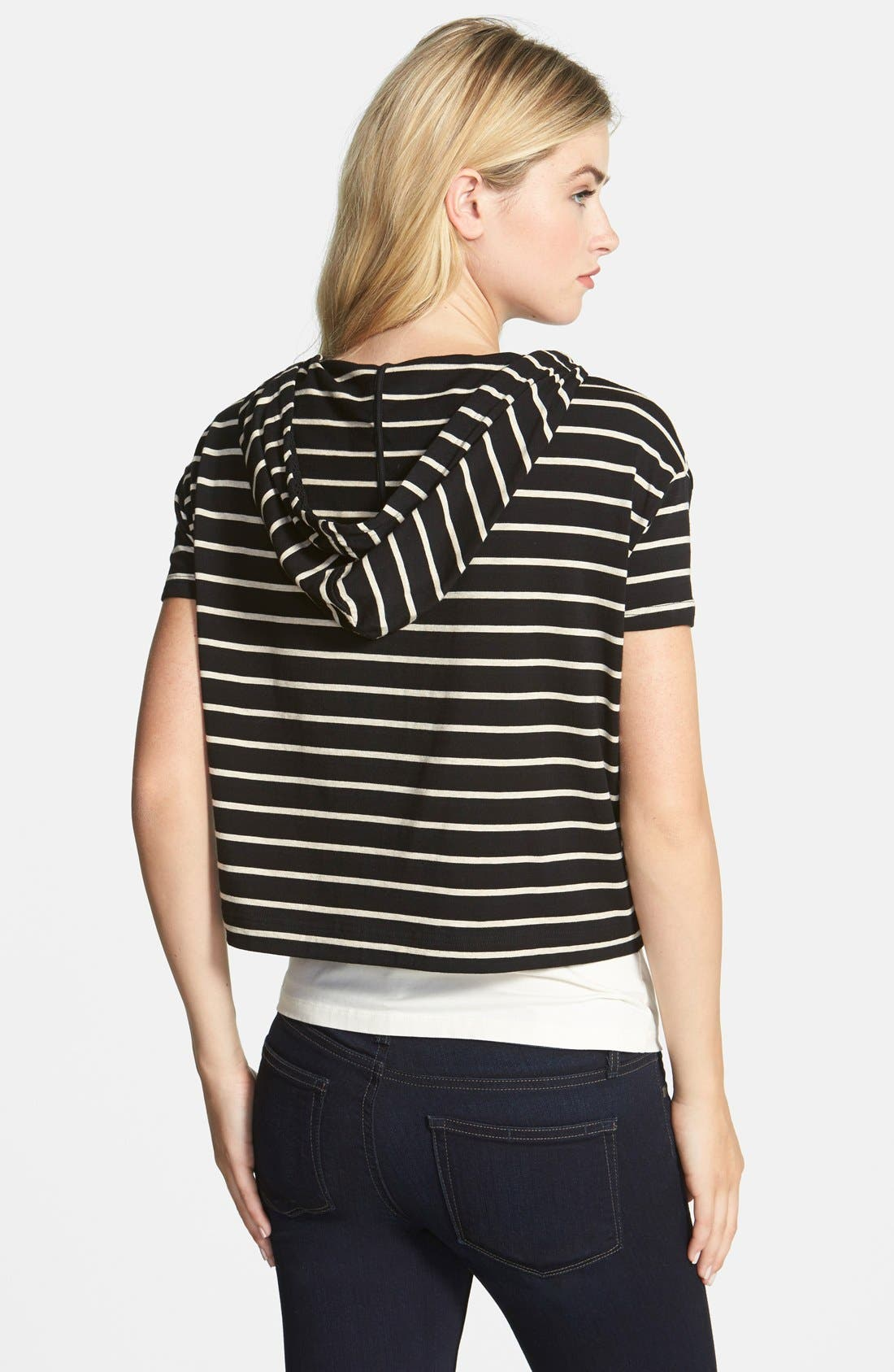 Alternate Image 2  - Two by Vince Camuto Stripe Crop Boxy Hoodie