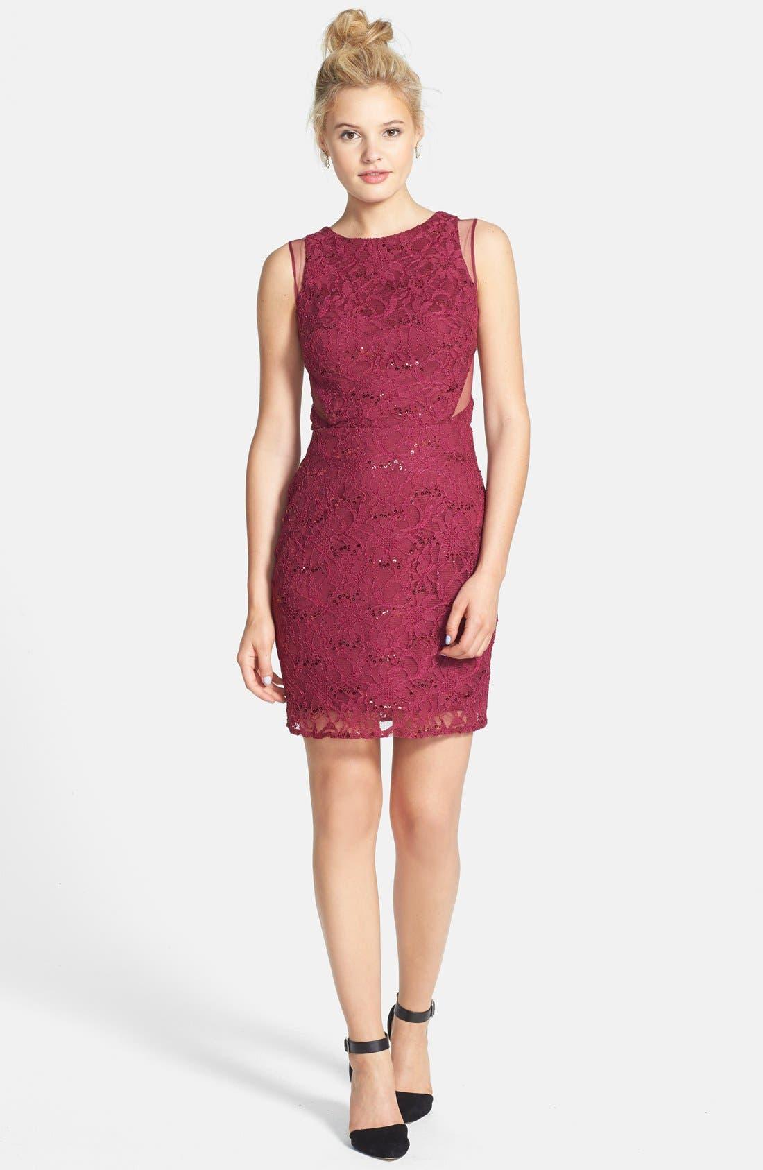 Alternate Image 3  - Hailey Logan Mesh Inset Sequin Lace Sheath Dress (Juniors) (Online Only)