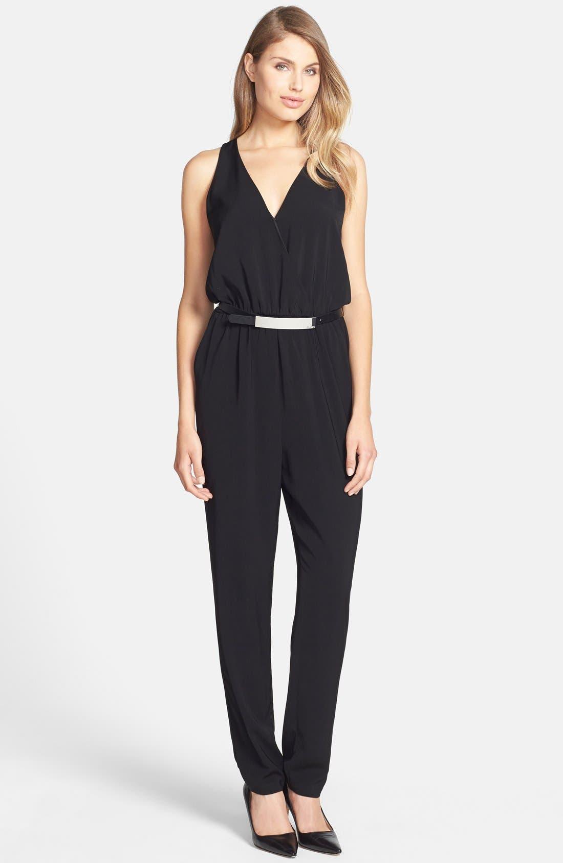 Alternate Image 1 Selected - DKNYC Belted Surplice Jumpsuit